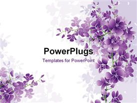 PowerPoint template displaying purple orchids blossom with white color