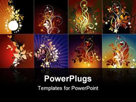PowerPoint template displaying set of floral frames, this depiction may be useful as designer work
