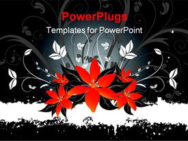 PowerPoint template displaying abstract floral design on grunge style in the background.