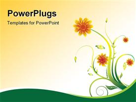 PowerPoint template displaying floral abstract design with blooming flowers in the background.