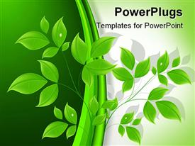 PowerPoint template displaying a close up view of a 3D branch with many leaves