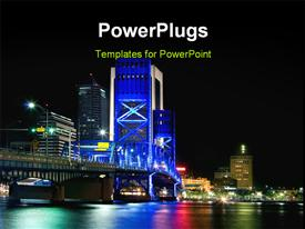 PowerPoint template displaying colorful structures with view of main street bridge in night sky