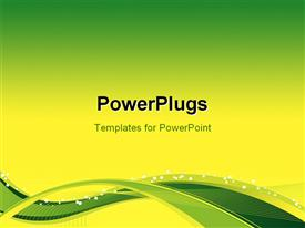 PowerPoint template displaying flow Background with yellow-green waves and blend effects in the background.