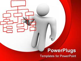 PowerPoint template displaying white 3D figure holding a red marker drawing organizational chart on white and red background