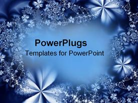 PowerPoint template displaying blue abstract flowers