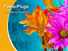 PowerPoint template displaying vibrant flowers