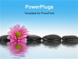 PowerPoint template displaying black stones with reflections in water in the background.