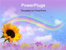 PowerPoint template displaying multicolor flowers with rainbow, butterflies and sky