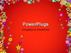 PowerPoint template displaying frame of Colorful Flowers with red color