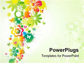 PowerPoint template displaying different flowers with little butterflies showing spring season