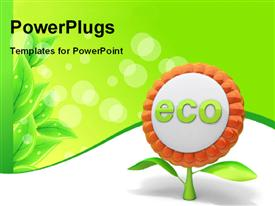 PowerPoint template displaying flower ecology icon with green leaves
