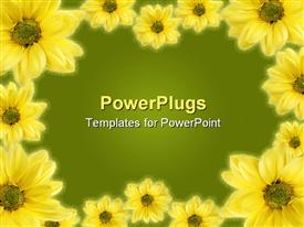 PowerPoint template displaying a beautiful depiction of a collection of sunflowers with a place for text