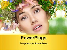 PowerPoint template displaying beautiful girl with bunch of multicolor flowers and nature