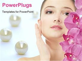 PowerPoint template displaying beautiful woman and pink flowers with pearls