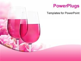Beautiful backdrop of flowers hibiscus and glasses of wine powerpoint template