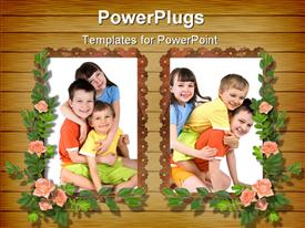 Two frameworks for photo on the wooden background with flowers powerpoint theme