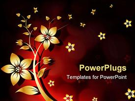 PowerPoint template displaying abstract background yellow white flower withe red and black background