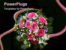 PowerPoint template displaying flower bouquet with pink roses, green leaves and feathers, florist, floral design, weddings