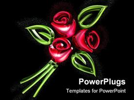 PowerPoint template displaying three red roses with three leaves