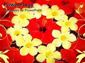 PowerPoint template displaying red and Yellow Tropical Flowers floating in water as a floral display