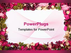 PowerPoint template displaying a pretty floral frame of multi colored different flowers