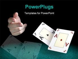 PowerPoint template displaying hand with two aces playing cards over black background