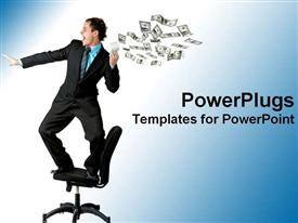 PowerPoint template displaying a professional with a lot of dollars