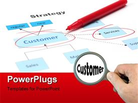 PowerPoint template displaying business diagram with companies strategy focusing on customer and service with keywords