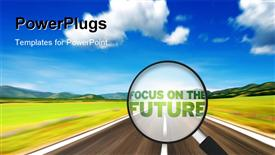 PowerPoint template displaying magnifying Glass with the word focus on the future with road and sky