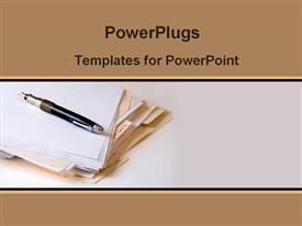 PowerPoint template displaying folder and pen on the table in the background.