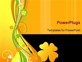 PowerPoint template displaying springtime design with foliage and floral shapes in the background.