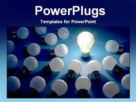 PowerPoint template displaying a number of bulbs with only one bulb connected to electricity