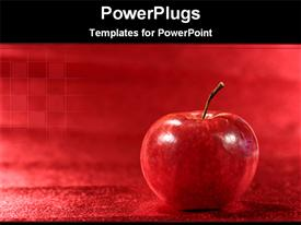 PowerPoint template displaying a big red apple on a red plain background