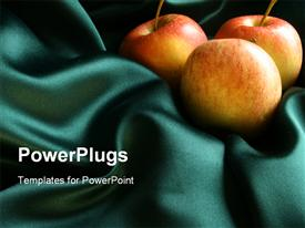 PowerPoint template displaying apples On Silk in the background.