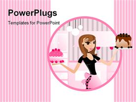 PowerPoint template displaying bakery diva displaying yummy cakes baked good in the background.