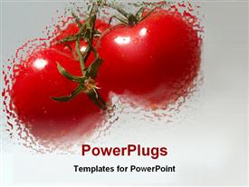 PowerPoint template displaying 3 blurred red tomatoes with water drops on gradient gray background