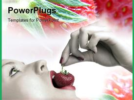 PowerPoint template displaying a girl eating the strawberry with flowers in the background