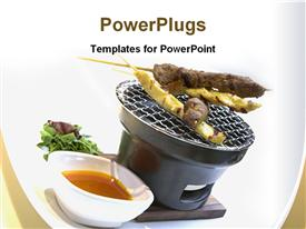 PowerPoint template displaying beef and Chicken meat on grill with vegetable and bowl of sauce