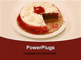 PowerPoint template displaying birthday cake in the background.