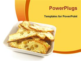 PowerPoint template displaying biscotti biscuits in the background.