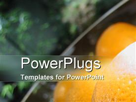 PowerPoint template displaying bowl of fruit in modern apartment in the background.