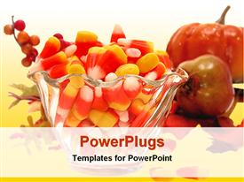 PowerPoint template displaying bowl of red and yellow candy with different fruits