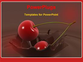 PowerPoint template displaying cherry falls into chocolate