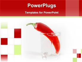 PowerPoint template displaying chili pepper in a glass of water