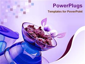 PowerPoint template displaying chocolate biscuit on blue bowl and studio lighting
