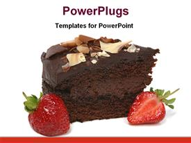 PowerPoint template displaying chocolate cake with strawberry in the background.