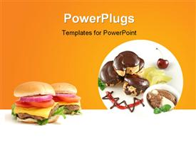 Chocolate profiteroles with kiwi fruit, ice cream and burger powerpoint theme
