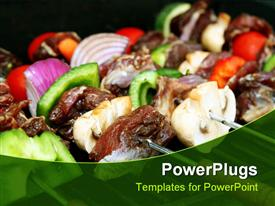 PowerPoint template displaying close up of barbecue sticks with meat and vegetables, green pepper slices, onion slices, meat slices, small red tomatoes on BBQ grill