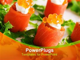 Close-up of salmon rolls with red caviar template for powerpoint