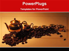 PowerPoint template displaying coffee pots with coffee seeds